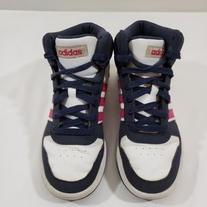 ADIDAS HIGH TOPS SHOES WHITE W/BLUE, RED ACCENTS